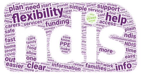"""Word cloud in the shape and colours of the NDIS logo. There are hundreds of single words - the bigger ones were mentioned more frequently and include """"flexibility"""", """"help"""", """"clear"""" """"info"""", etc."""